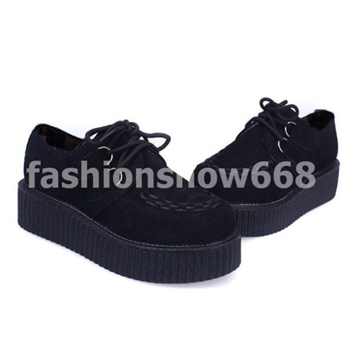 Fashion hot sale british creepers flats black suede goth punk shoes lace up boat shoes for summer autumn