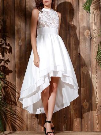 dress white lace fashion style trendy asymmetrical beautiful flowy dressfo