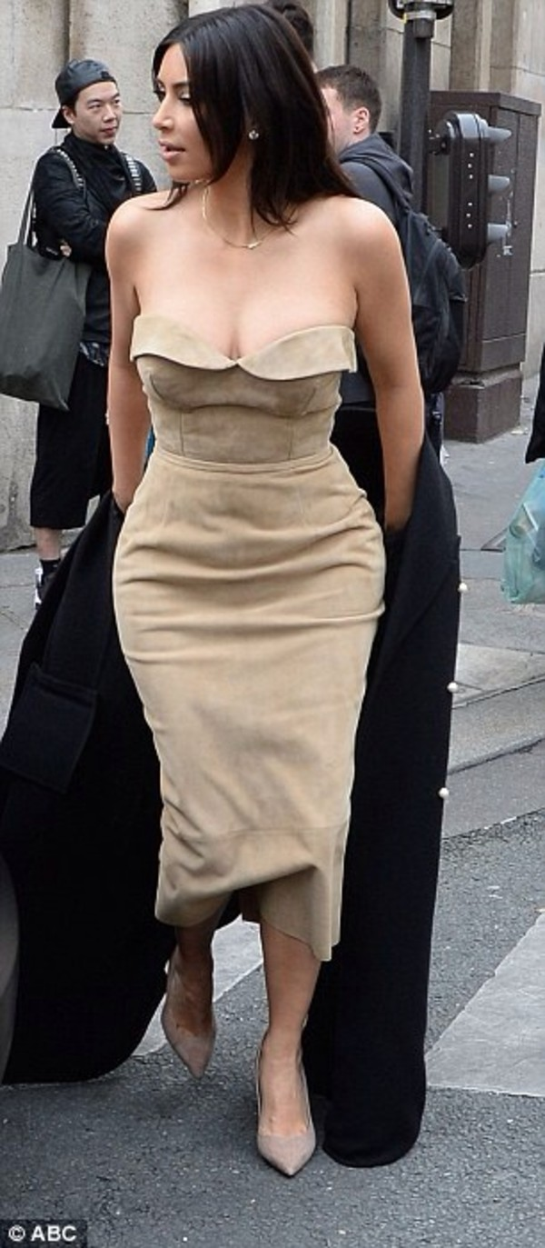 Dress: kim kardashian, beige dress, strapless dress, kim ...