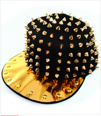 Gold & Black Spike Snapback - Accessories
