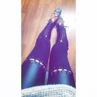 leggings maniere de voir leather suede lace up tied up tie up pants faux effect kardashians
