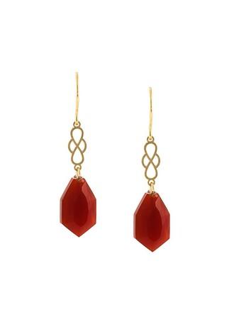 earrings red metallic jewels