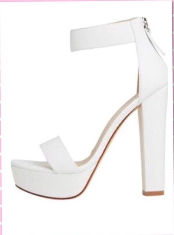 Brandi White Platform High Heel Sandals