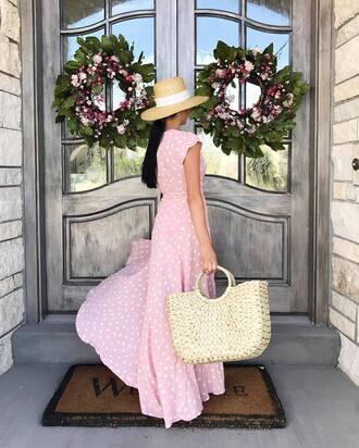 dress hat tumblr maxi dress long dress polka dots pink dress bag woven bag sun hat