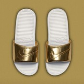 shoes,nike benassi solarsoft  liquid metal gold,slide shoes,benassi liquid pack,nike,gold,white,sporty,nike slides,custom nike,metallic slides