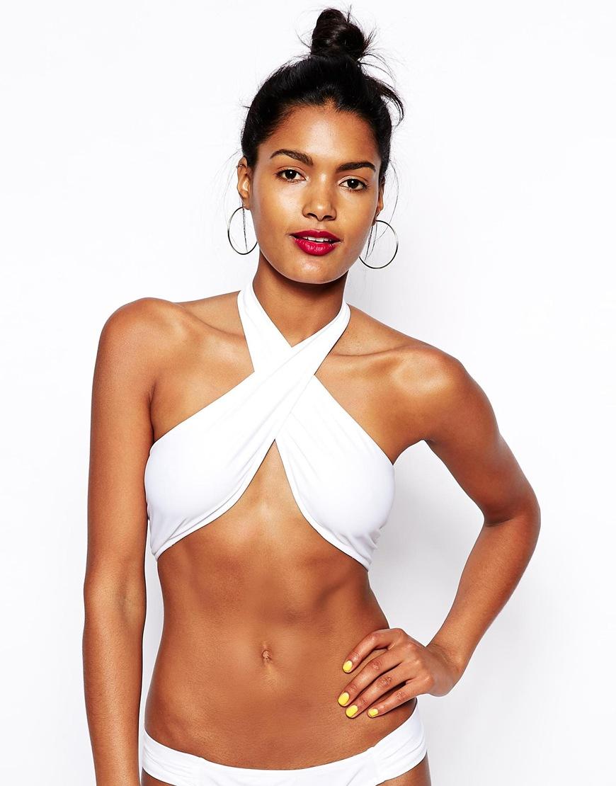 ASOS Cross Wrap Halter Bikini Top at asos.com