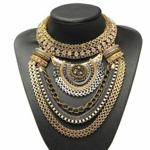 big statement gold necklace images