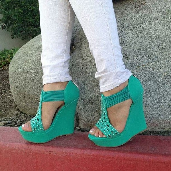 shoes heels wedges mint