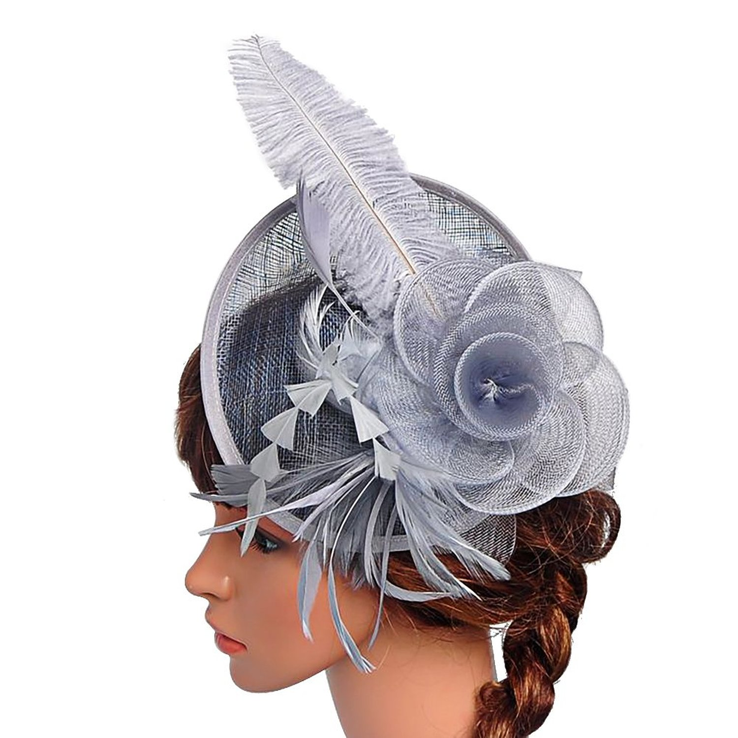 Valdler Womens Feather Mesh Net Sinamay Fascinator Hat with Hair ... f50d623f100
