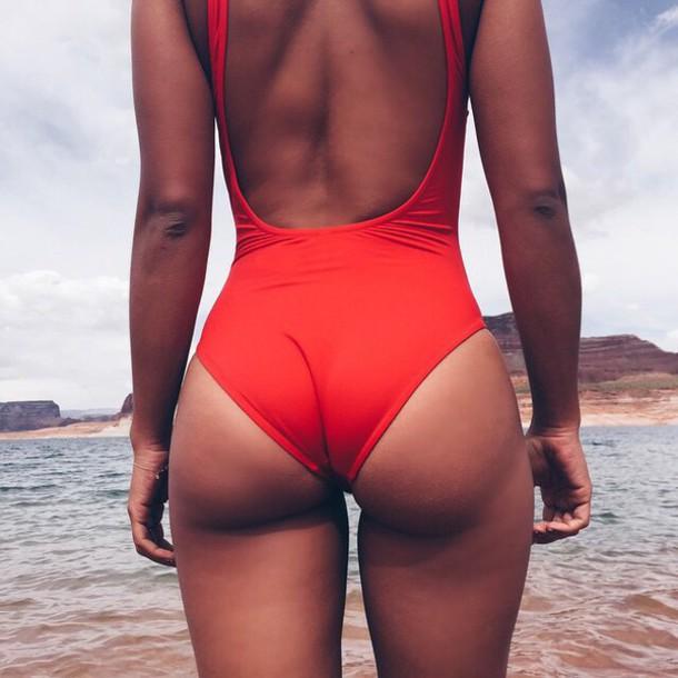 swimwear red sexy one piece one piece swimsuit one-piece swimwear