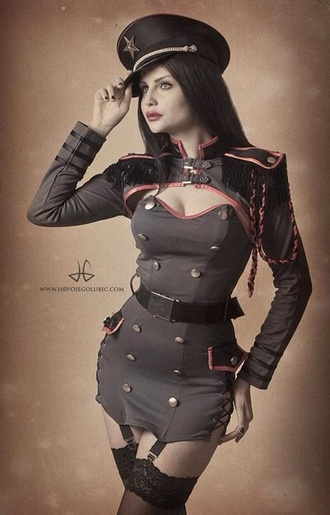 dress halloween hat military style steampunk sexy