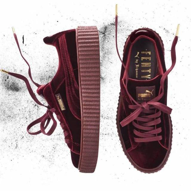 Puma By Rihanna Suede Creepers Black Grey Burgundy 2017 New Christmas Deals