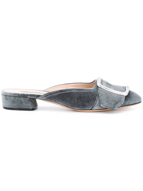 CASADEI women mules leather velvet grey shoes