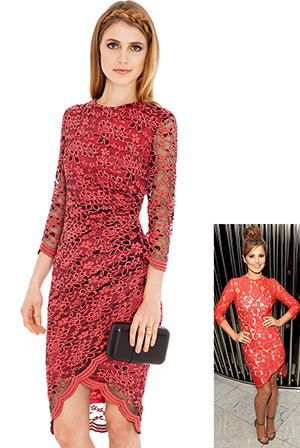 Three Quarter Length Floral Lace Dress in the style of Cheryl Cole