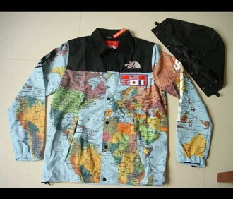 jacket map print blue brown black colorful supreme north face