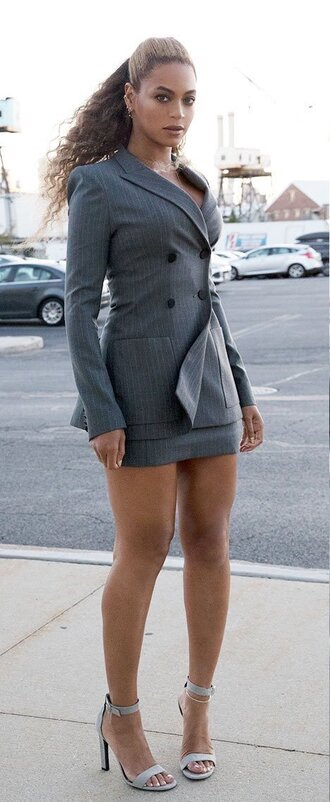 jacket skirt beyonce sandals blazer mini skirt grey shoes