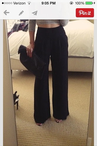 pants black high waisted pants wide-leg pants wide leg wide leg trousers wide leg black high waisted clutch foldover grey crop tops crop top sleeve new year's eve 2015 2016 clubwear nightclub going out office outfits grey top long sleeve crop top