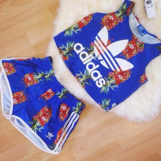 Adidas x Farm company floral crop ... | Diane Le | Depop