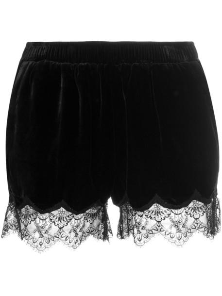 Gold Hawk shorts women scalloped lace black silk
