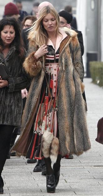 dress coat fur fur coat kate moss