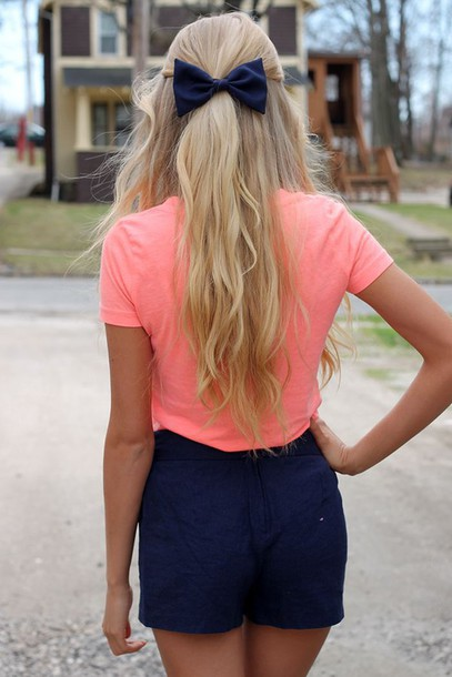 shorts southern preppy navy blonde hair girly