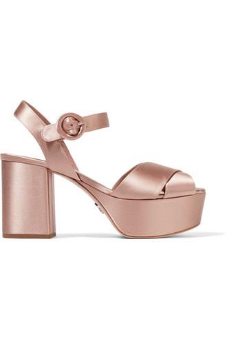 sandals platform sandals satin blush shoes