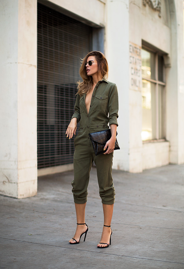 blogger sunglasses jumpsuit bag utility overall