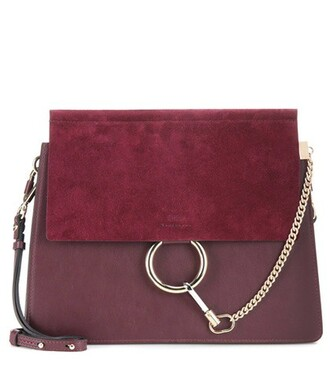 bag shoulder bag leather suede purple