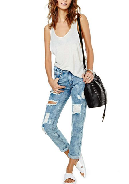 Women's washing blue color straight type cutting hole long jeans online