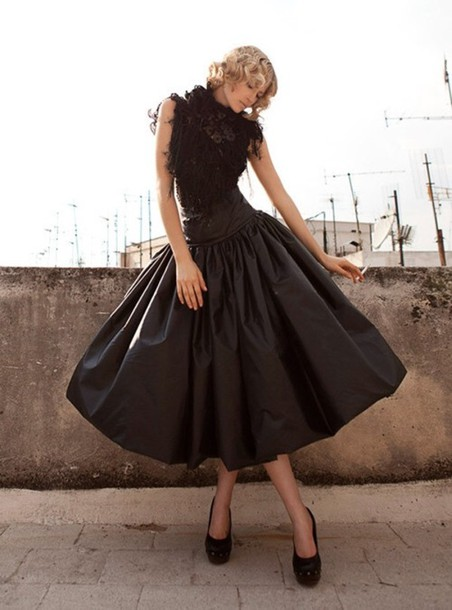 A Line Black Midi Skirt - Dress Ala