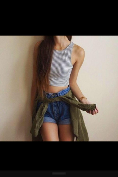 striped shirt crop tops tank top