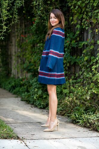 dallas wardrobe // fashion & lifestyle blog // dallas - fashion & lifestyle blog blogger dress coat jewels shoes bag blue coat nude heels high heel pumps