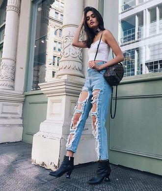 bag louis vuitton backpack mini backpack louis vuitton backpack jeans denim blue jeans ripped jeans boots black boots top white top tumblr black choker choker necklace