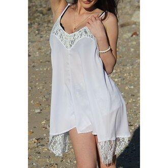 dress white summer fashion style trendy romantic summer dress cute girly rosewholesale.com