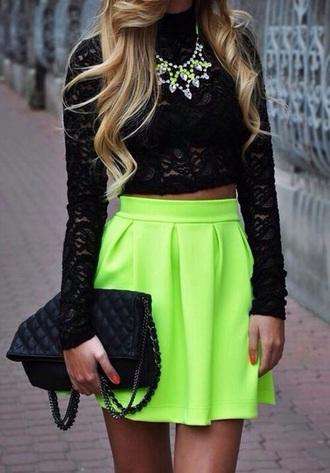 skirt green neon neon green neon skirt