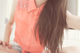 shirt lace black corail turquoise short sleeves coral tank top collar studded collar blouse