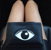 bag,black,eye,bag with eye print,black bag,eye ball,tumblr,evil eye,cluch,makeup bag,clutch,kenzo,blog,enerxated,indie,white,purse,eyelashes,lashes,pochette,eye purse,black clutch,eyes,small bag,cool looking,black clutch bag,leather bag