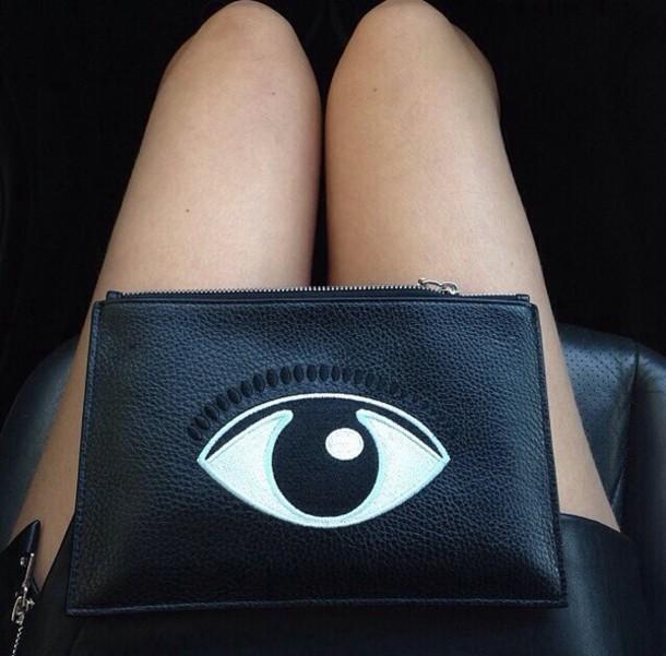 305c35f8208 bag black eye bag with eye print black bag eye ball tumblr evil eye cluch  makeup