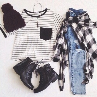 top striped shirt alternative punk grunge t-shirt jeans boots plaid