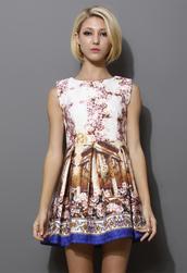 dress,retro floral,jacquard