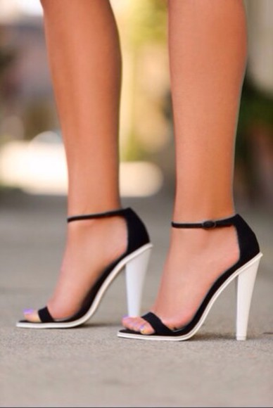 high heels black and white sandals black sandals with white heel