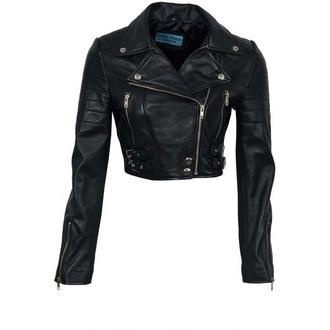 jacket black leather short hot silver shiny