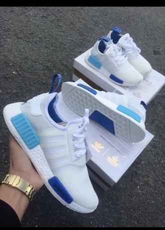 shoes blue white adidas