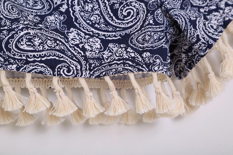 Blue Elastic Waist Totem Print Tassel Shorts - Sheinside.com