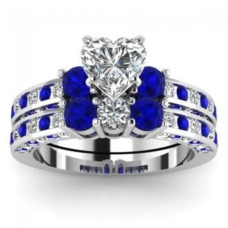 jewels blue sapphire wedding ring set heart shaped diamond ring set white gold ring set evolees.com heart diamond and blue sapphire ring
