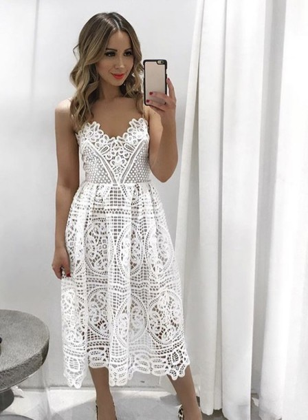 Dress White Lace Dress White Dress Skater Dress Crochet Crochet