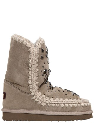 shearling boots embellished boots taupe shoes