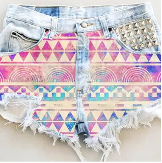 shorts denim shorts high waisted shorts aztec spikes silver summer shorts nice cool perfect triangle