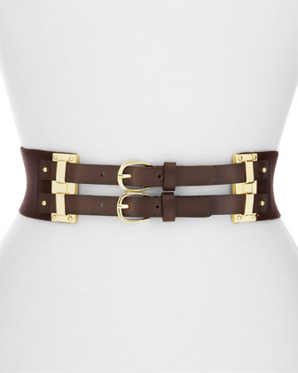 Linea Pelle Stretch Twill Double Buckle Belt, Brown
