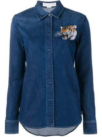 shirt denim shirt denim embroidered tiger blue top